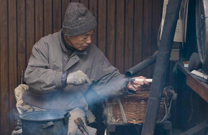 Fabrication artisanel couteau japonais