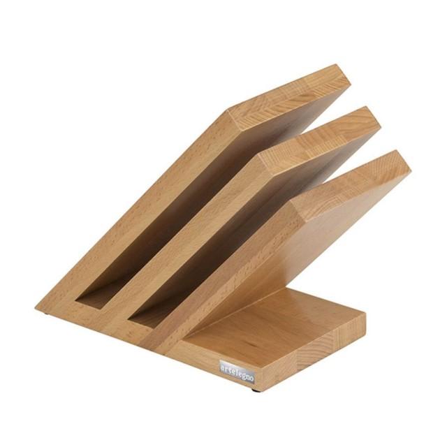 Bloc aimanté 6 couteaux couleur bois de hêtre