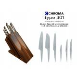 Bloc aimanté tout équipé 4 couteaux + 2 ctx steak - Chroma Type 301