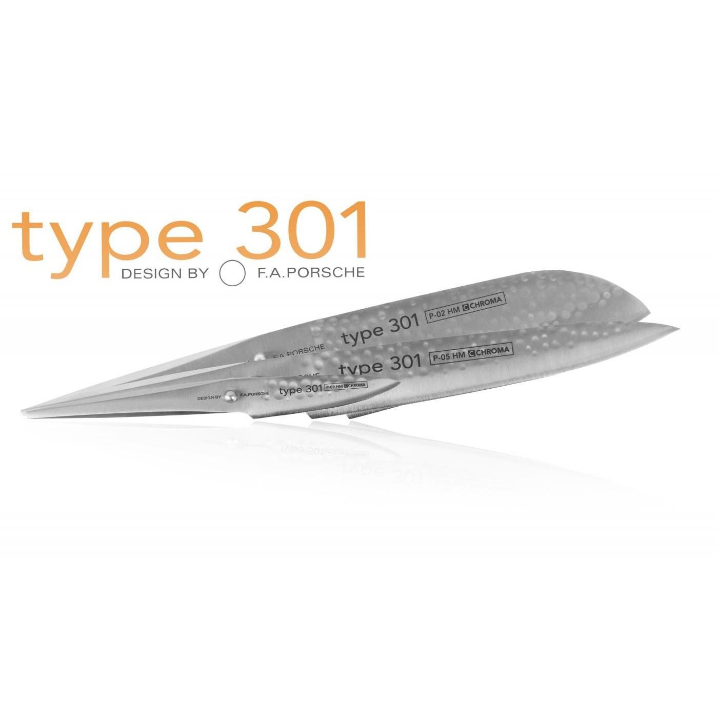 Ensemble de 3 couteaux Type 301 Design by F.A. Porsche HM en coffret bois P529HM