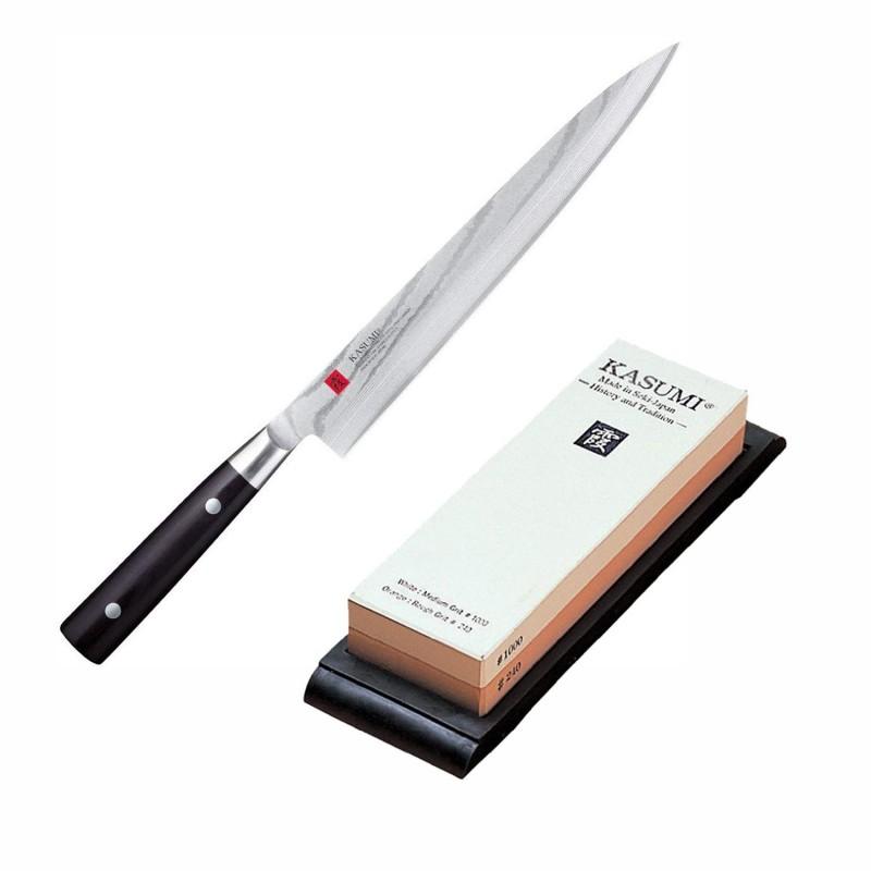 Lot Couteau Sashimi 24 cm avec Pierre à Aiguiser K11