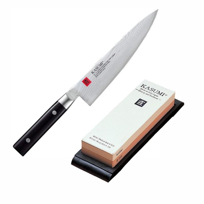 Lot Couteau Chef 20 cm avec Pierre à Aiguiser K11